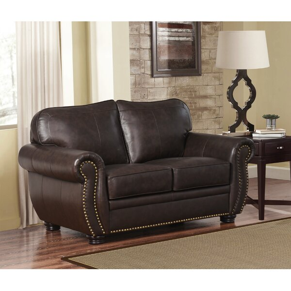 Special Saving Hotchkiss Leather Loveseat by World Menagerie by World Menagerie