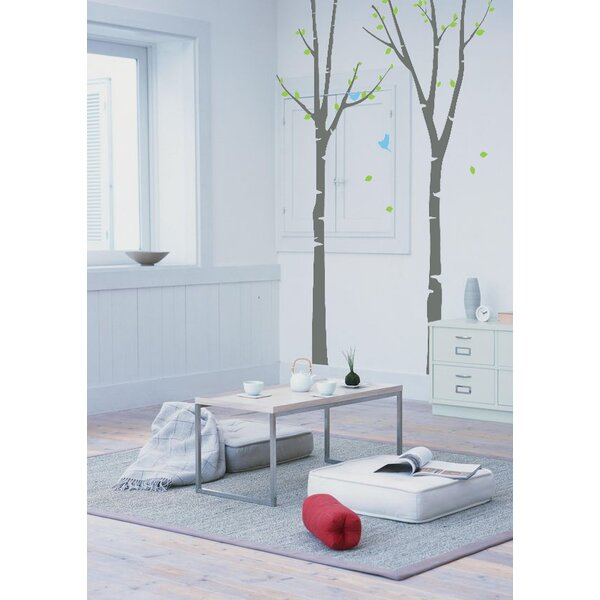 Two Birch Trees with Flying Birds Wall Decal by Zoomie Kids