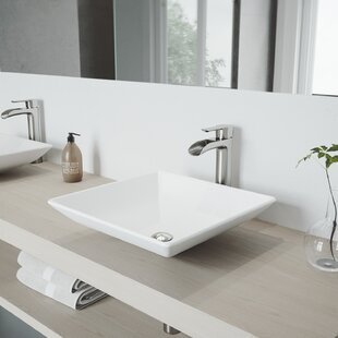 Top VIGO Matte Stone Square Vessel Bathroom Sink with Faucet By VIGO