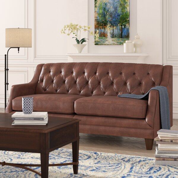 Derbyshire Leather Sofa by Three Posts