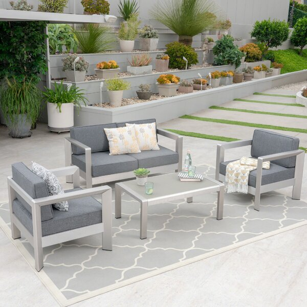 Herbst 4 Piece Sofa Seating Group with Cushions by Wrought Studio