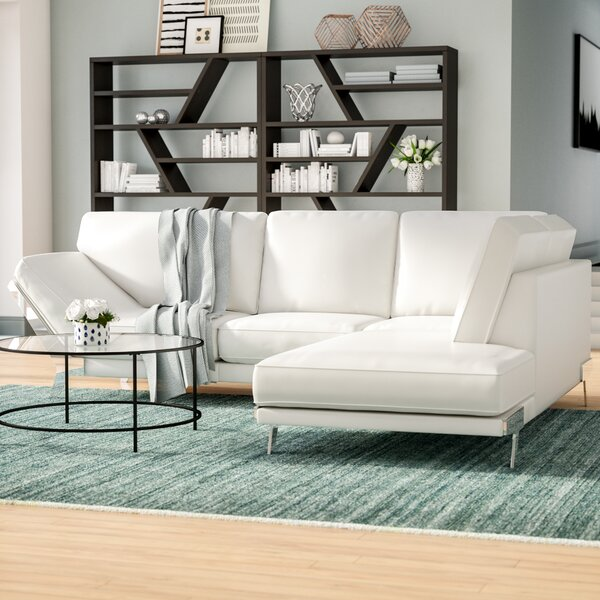 Carnell Leather Sectional by Orren Ellis