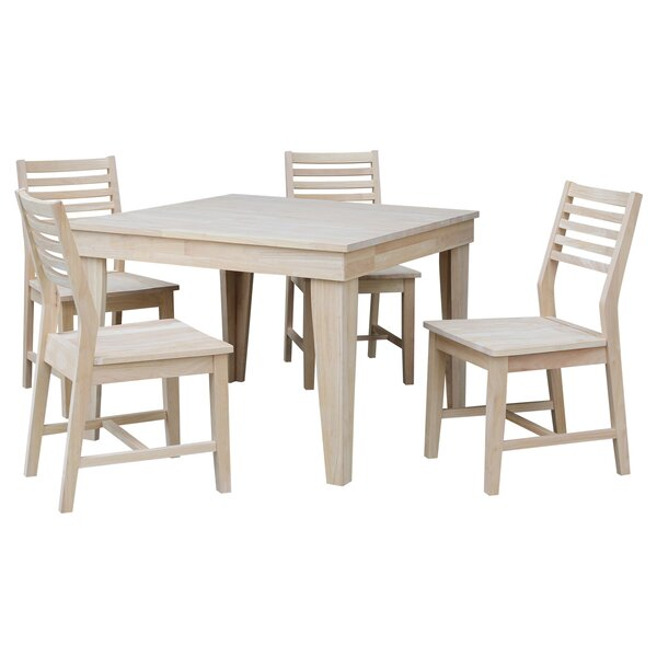 Theodosia Fixed Top 5 Piece Solid Wood Dining Set By Highland Dunes Find