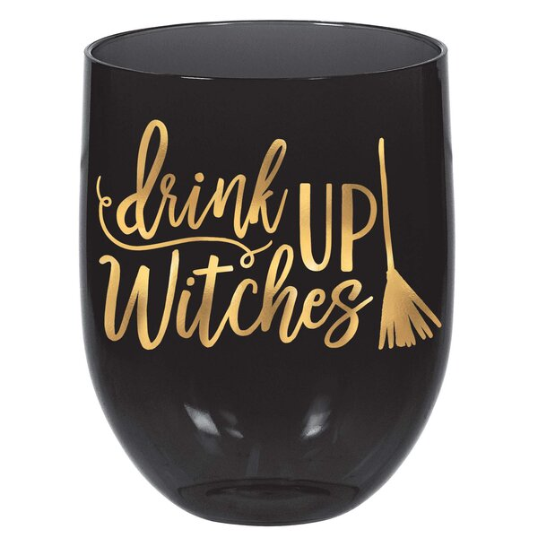 Halloween Witch Stemless Plastic 15.2 oz. Wine Glass (Set of 6) by Amscan