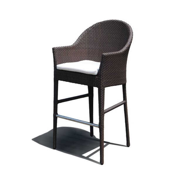 Jeremy Patio Bar Stool with Cushion by Mistana