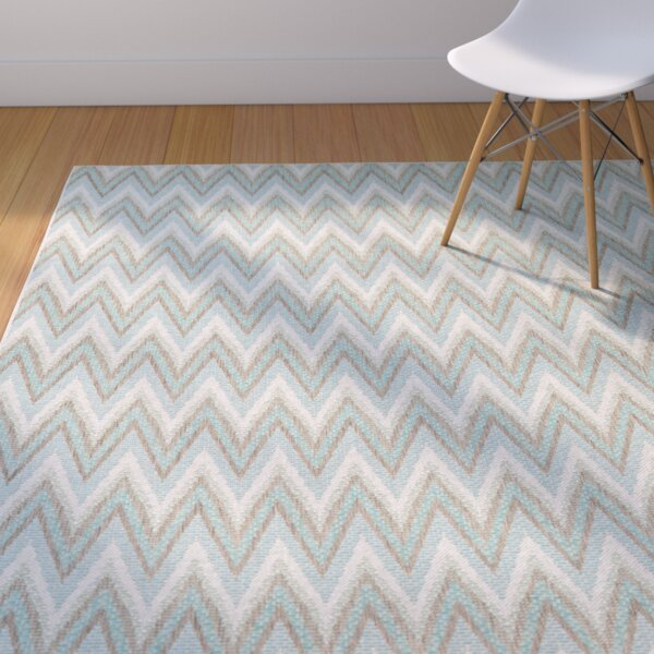 Conesus Blue Chevron Indoor/Outdoor Area Rug by George Oliver