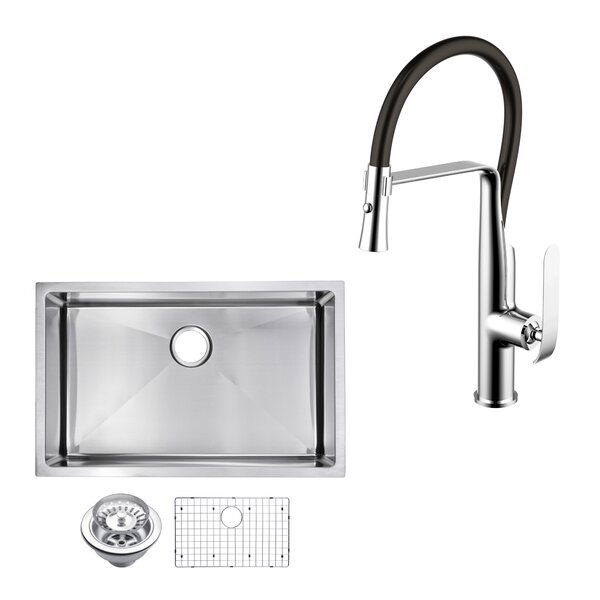 All-in-One Stainless Steel 30 L x 19 W Undermount Kitchen Sink with Faucet by dCOR design