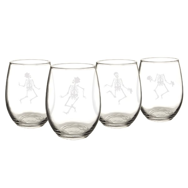 Dancing Skeletons 21 Oz. Stemless Wine Glasses (Set of 4) by Cathys Concepts