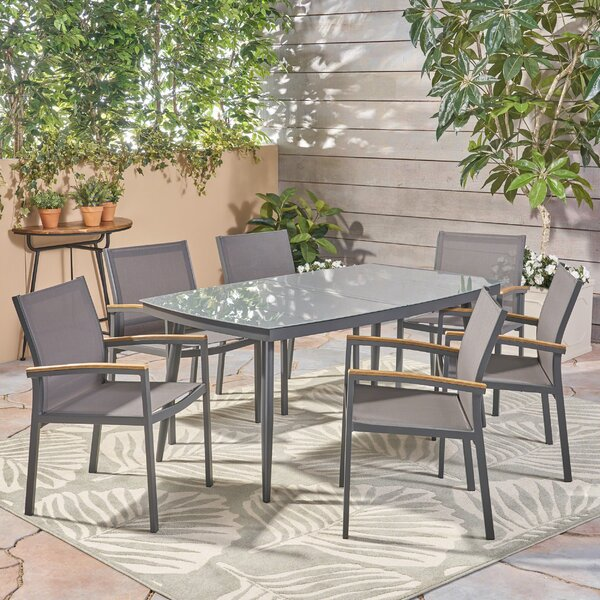Kingstowne Outdoor 7 Piece Dining Set by Wrought Studio