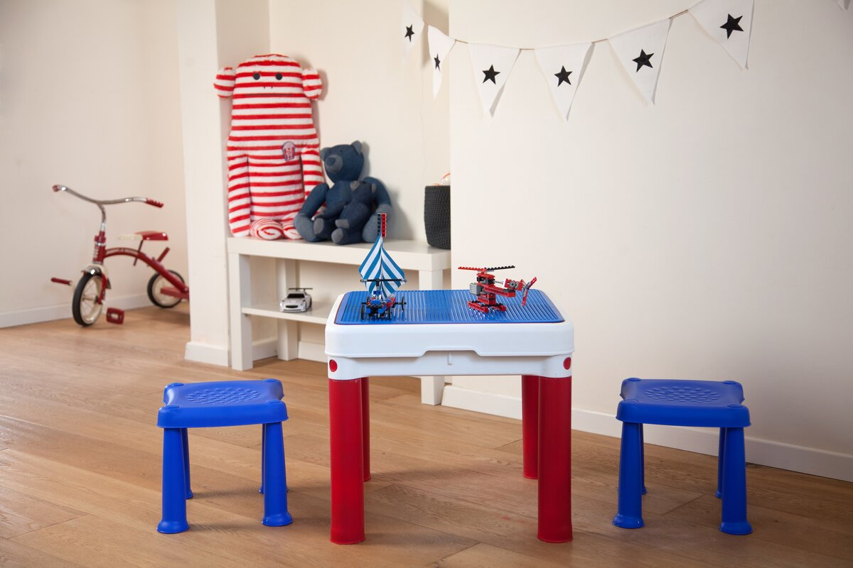 ConstrucTable Kids 3 Piece Square Table And Stool Set