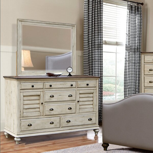 Wilfred 7 Drawer Combo Dresser with Mirror by Bayou Breeze
