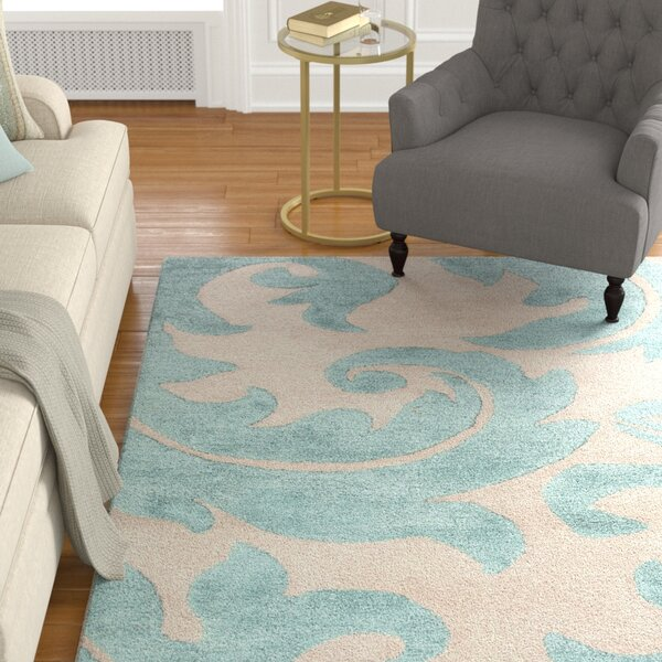 Silver Creek Ivory/Blue Abstract Area Rug by Alcott Hill