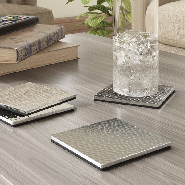 Hammered Square Coasters (Set of 4) by Birch Lane™