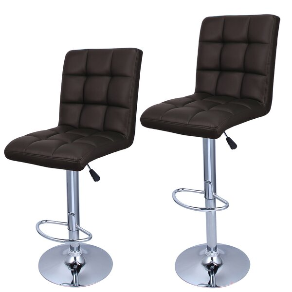 Rome Adjustable Height Swivel Bar Stool (Set of 2) by Zipcode Design