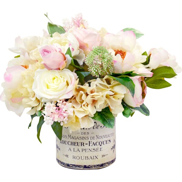 Mixed Peony and Hydrangea Centerpiece in French Label Pot by Willa Arlo Interiors