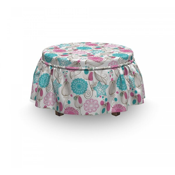 Sketched Tulip Flowers Ottoman Slipcover (Set Of 2) By East Urban Home