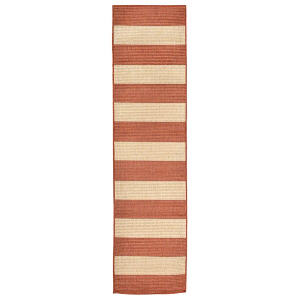 Kensa Terracotta/Beige Indoor/Outdoor Area Rug by Breakwater Bay