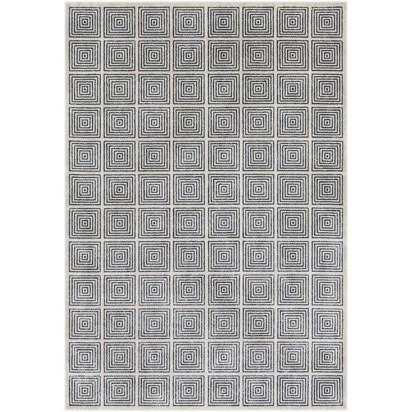 Hyacinth Modern Geometric Navy/Ivory Area Rug by Wrought Studio