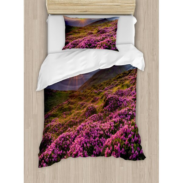 Nature Flower Meadow on Mountain Valley with Horizon Sky Surreal Mother Earth Beauty Image Duvet Set by Ambesonne