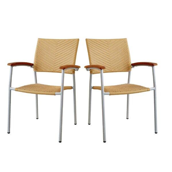 Outdoor Pe Rattan Side Arm Chair (Set of 4) by Latitude Run Latitude Run
