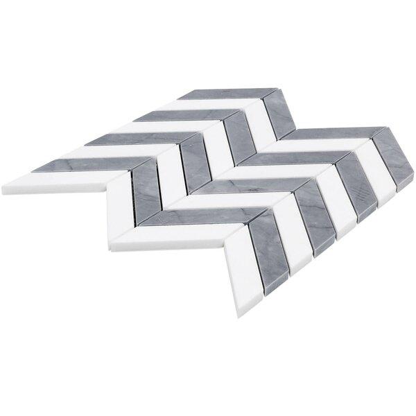 Dart Mabin Thassos Herringbone 1.3 x 3 Marble Mosaic Tile in Gray/White by Splashback Tile