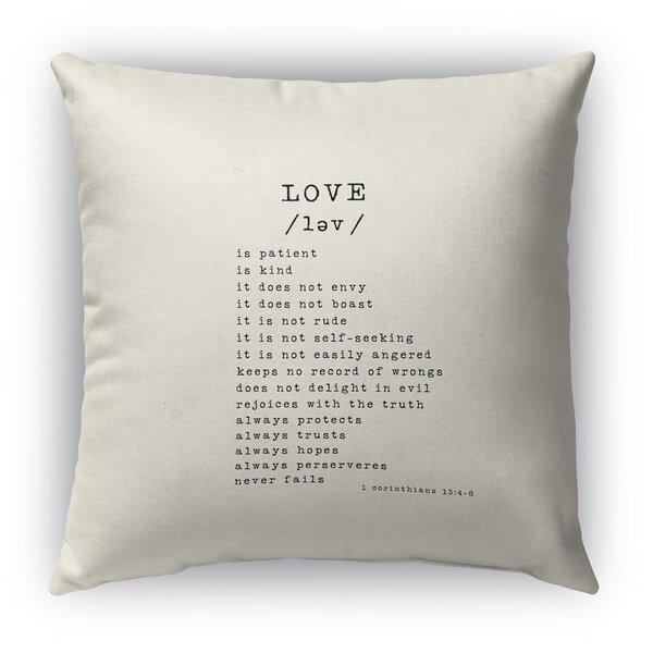 Love Is Burlap Indoor/Outdoor Throw Pillow by KAVKA DESIGNS