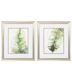 'Watercolor Plantain' 2 Piece Framed Painting Print Set by Propac Images