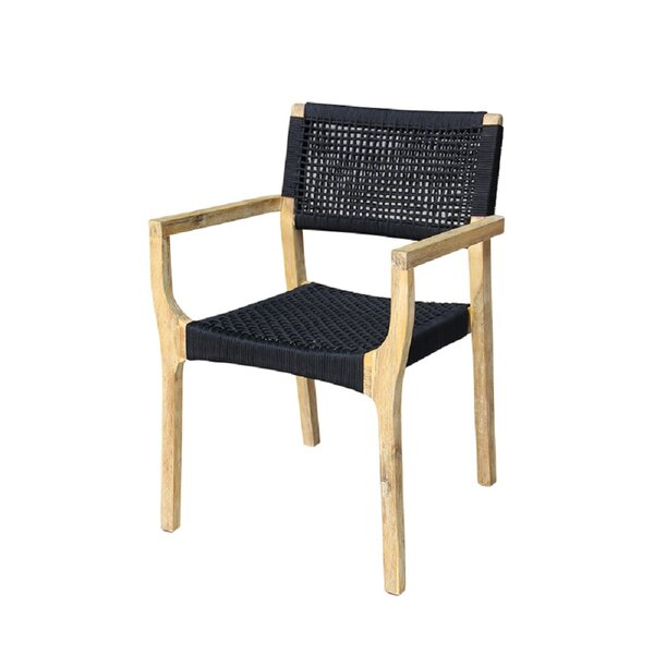 Kenneth Wood with Rope Patio Dining Chair (Set of 2) by Bayou Breeze Bayou Breeze