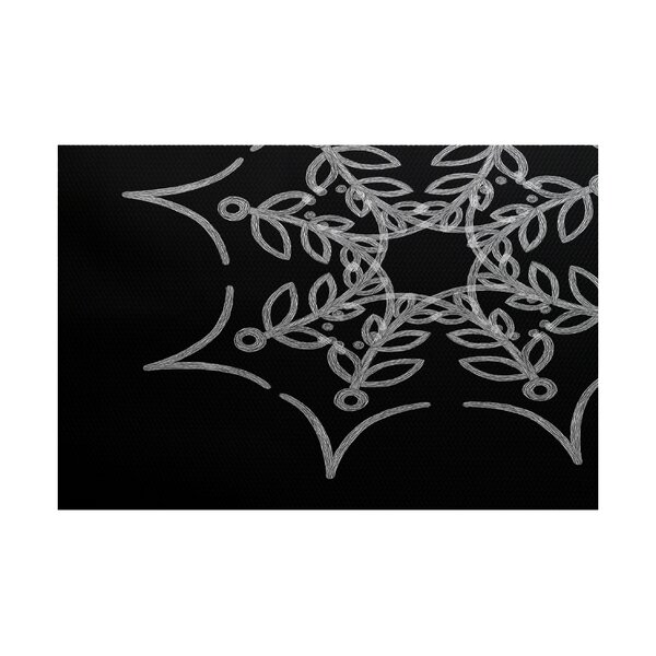 Web Art Holiday Print Black Indoor/Outdoor Area Rug by The Holiday Aisle