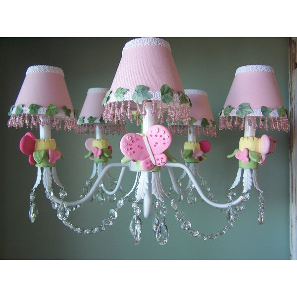 Pink Flutter Butterfly 3-Light Shaded Chandelier by Silly Bear Lighting