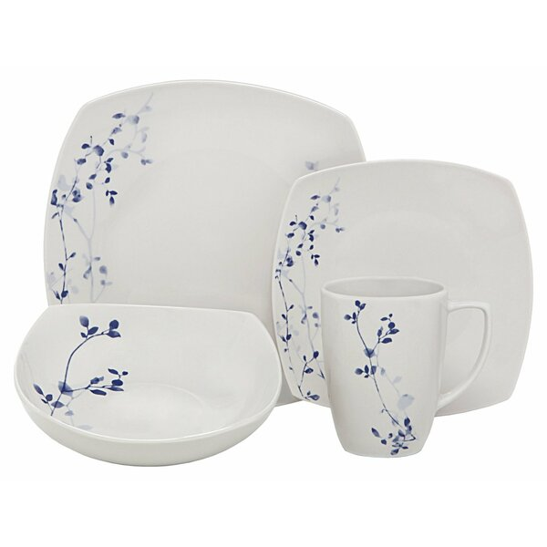 Garden Square Porcelain 16 Piece Dinnerware Set, Service for 4 by Melange