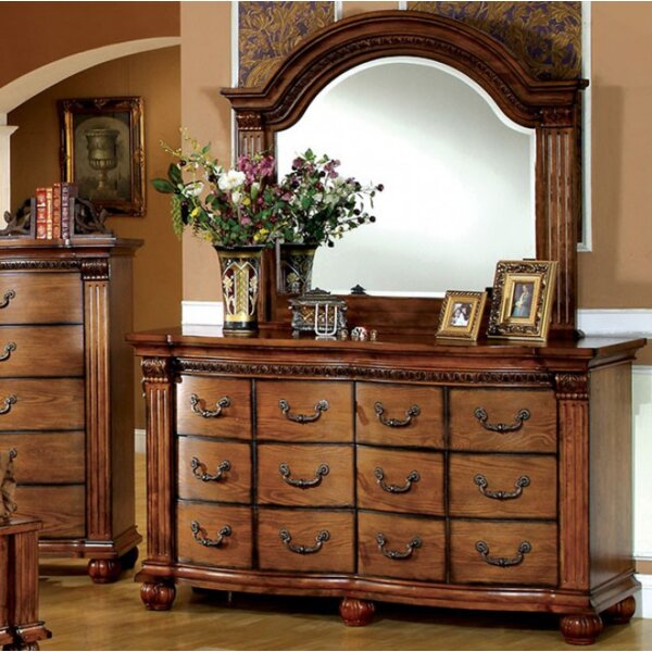 Goulet 12 Drawer Double Dresser with Mirror by Astoria Grand