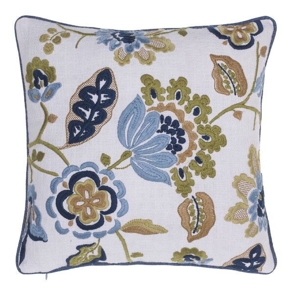 Climbing Flowers Embroidered Throw Pillow by 14 Karat Home Inc.