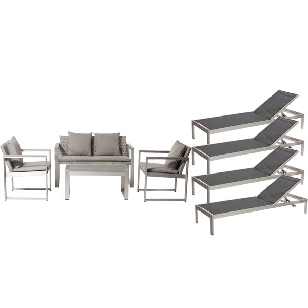 CHSTR LRG 8 Piece Rattan Sofa Seating Group with Cushions by Rosecliff Heights