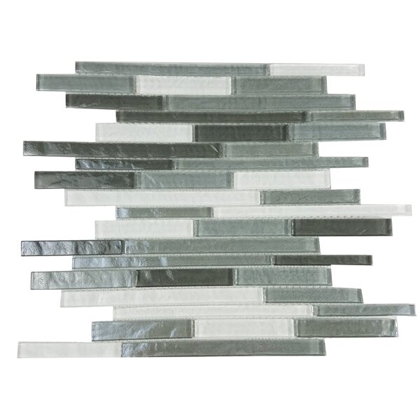 Geo Random Sized Glass Mosaic Tile in Gray by Abolos