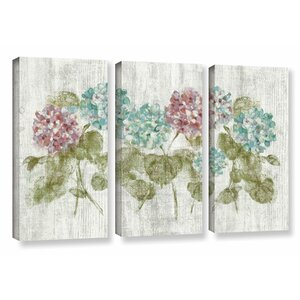 Vibrant Row of Hydrangea 3 Piece Painting Print on Wrapped Canvas Set by Lark Manor