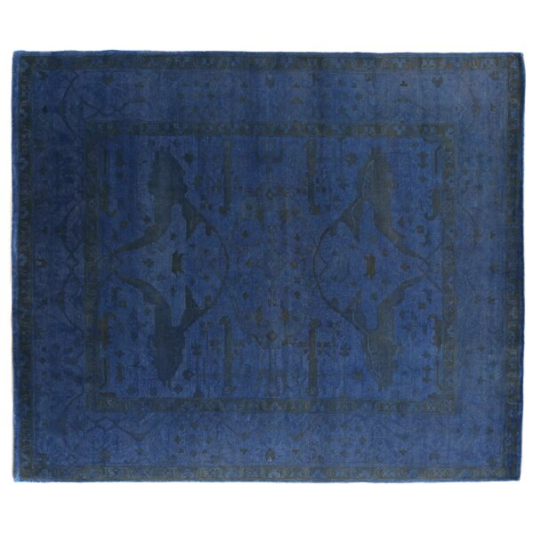 Overdyed Hand-Woven Wool Blue/Black Area Rug by Exquisite Rugs