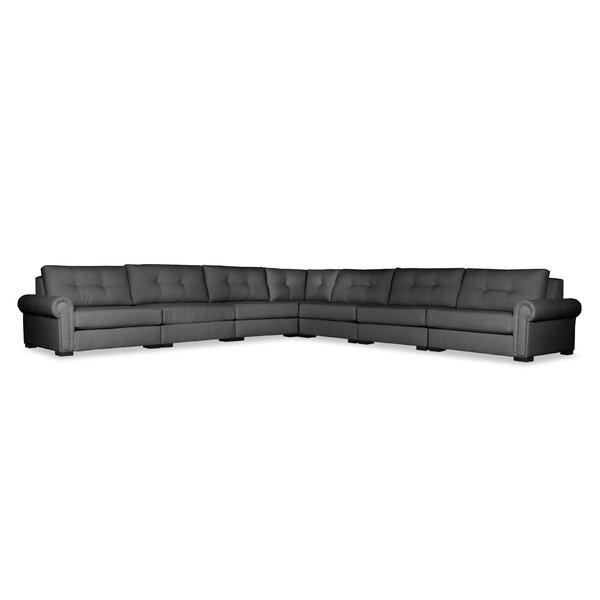 Willia Buttoned Right and Left Arms L-Shape Modular Sectional by Three Posts