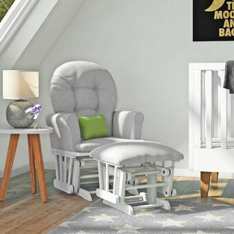 Pebble Gray//Gray Cleanable Upholstered Comfort Rocking Nursery Chair with Ottoman Graco Parker Semi-Upholstered Glider and Nursing Ottoman
