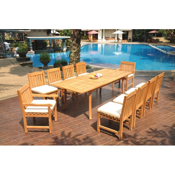Noriega 11 Piece Teak Dining Set by Rosecliff Heights