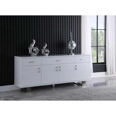 Everly Quinn Woolum 72 Wide 3 Drawer Sideboard  Color: Silver/White