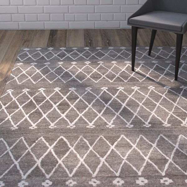 Reyansh Hand-Woven Wool Gray Rug by Brayden Studio
