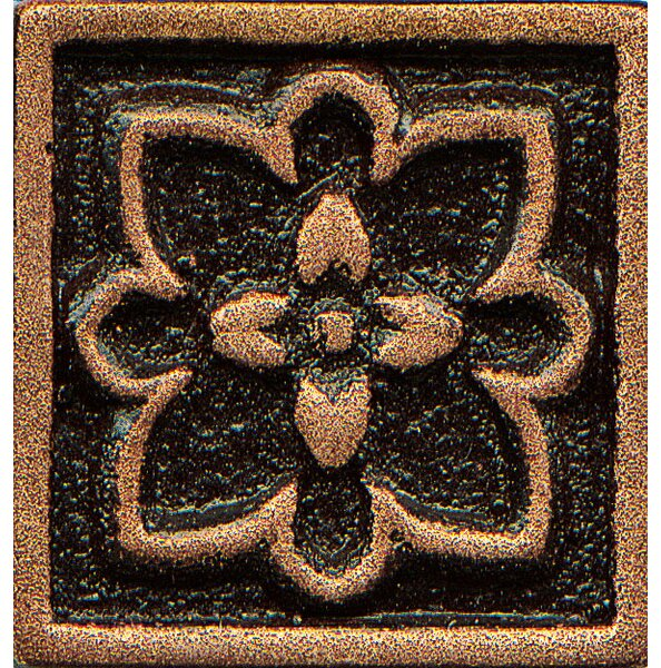 Ambiance Insert Romanesque 1 x 1 Resin Tile in Venetian Bronze by Bedrosians