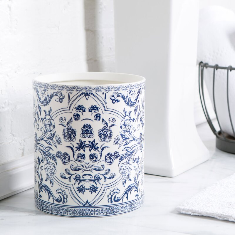 Birch lane porcelain bathroom accessories blue white for White ceramic bathroom bin