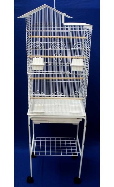Ollis Villa Top Small Bird Cage with Stand and 4 Feeder Doors by Tucker Murphy Pet