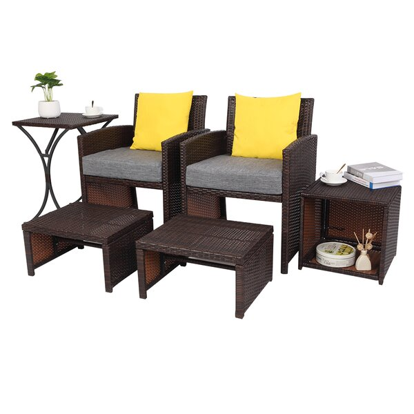 Balestra 2 Piece Rattan Seating Group with Cushions by Ebern Designs