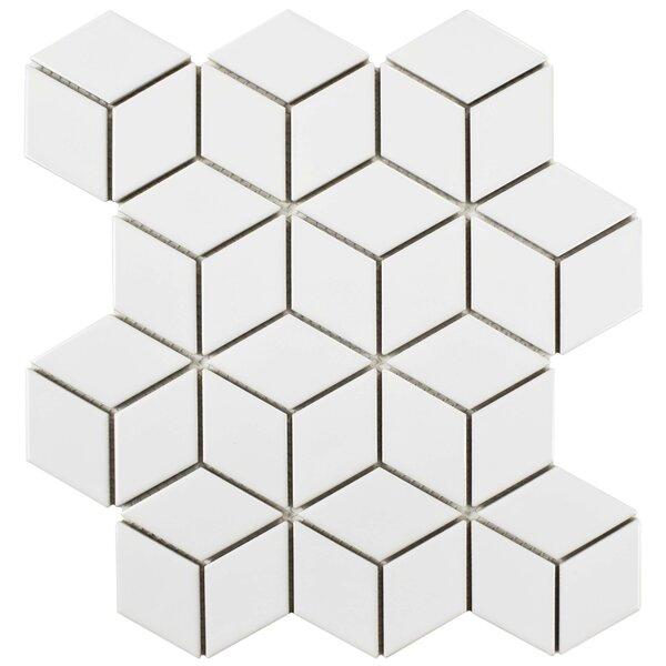 Retro Rhombus 1.88 x 3.18 Porcelain Mosaic Tile in Bright White by EliteTile