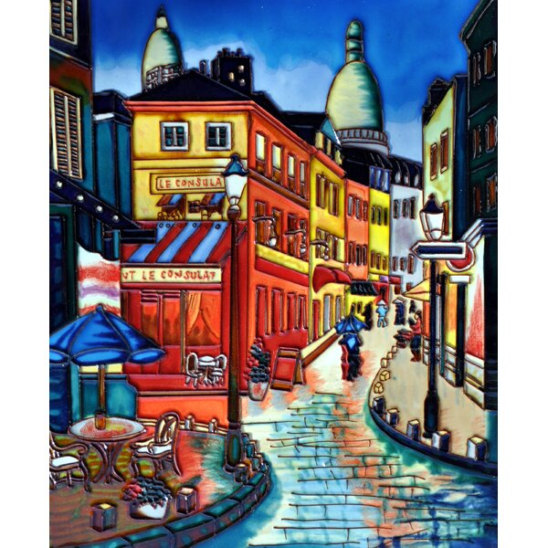 French Night Scene Tile Wall Decor by Continental Art Center