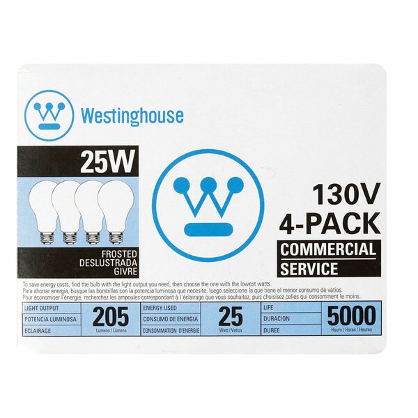 25W E26 Dimmable Incandescent Edison Standard Light Bulb by Westinghouse Lighting