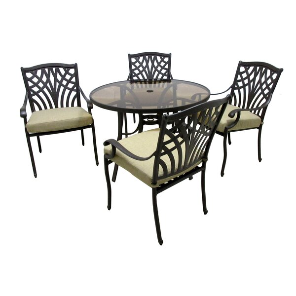 Verdi 5 Piece Dining Set with Cushions by Darby Home Co